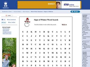 Signs of Winter Word Search Worksheet