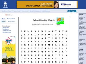 Fall Activities Word Search Worksheet