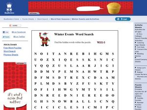 Winter Events Word Search Worksheet