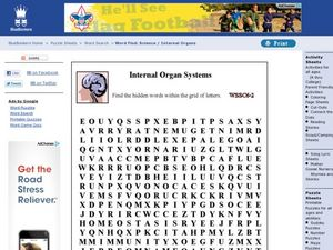Internal Organ Systems Word Search Worksheet