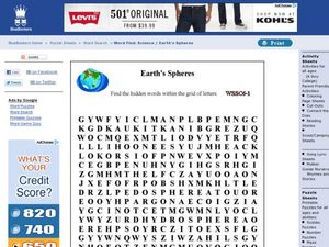 Earth S Spheres Word Search Worksheet For 3rd 7th Grade Lesson