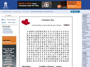 Valentines Day Word Search Worksheet