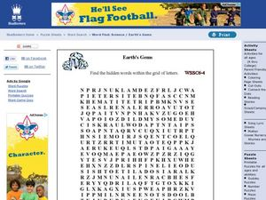 Earth's Gems Word Search Worksheet