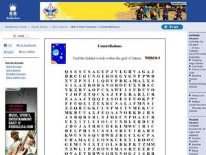 Constellations Word Search Worksheet