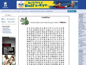 Word Find: Amphibians Worksheet