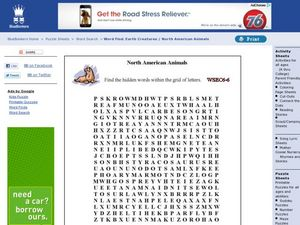 Word Search: North American Animals Worksheet
