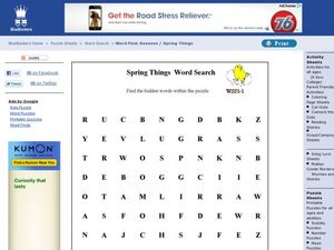 Spring Things Word Search Worksheet