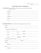 Study Guide: The Interlopers Worksheet