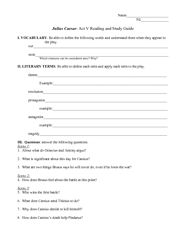 Reading And Study Guide Julius Caesar Act V Worksheet For