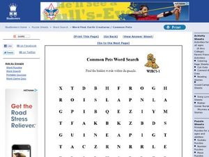 Common Pets Word Search Worksheet