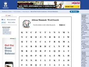African Mammals Word Search Worksheet