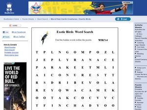Exotic Birds Word Search Worksheet