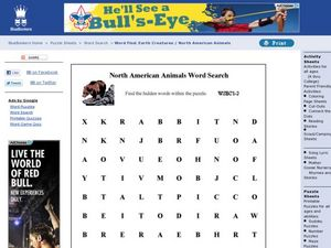 North American Animals Word Search Worksheet