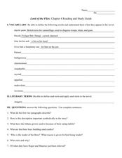 Reading and Study Guide: Lord of the Flies Chapter 4 Worksheet