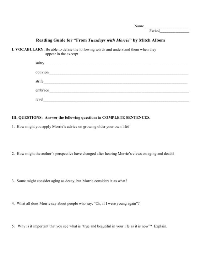 Reading Guide: Tuesdays with Morrie Worksheet for 8th - 10th ...