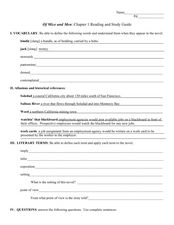 Reading and Study Guide: Of Mice and Men Chapter One Worksheet