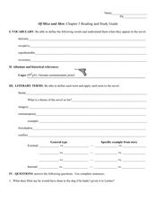 Reading and Study Guide: Of Mice and Men Chapter 3 Worksheet