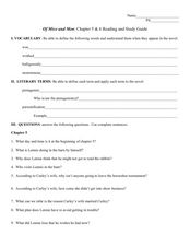 Reading Study Guide: Of Mice and Men Chapters 5-6 Worksheet