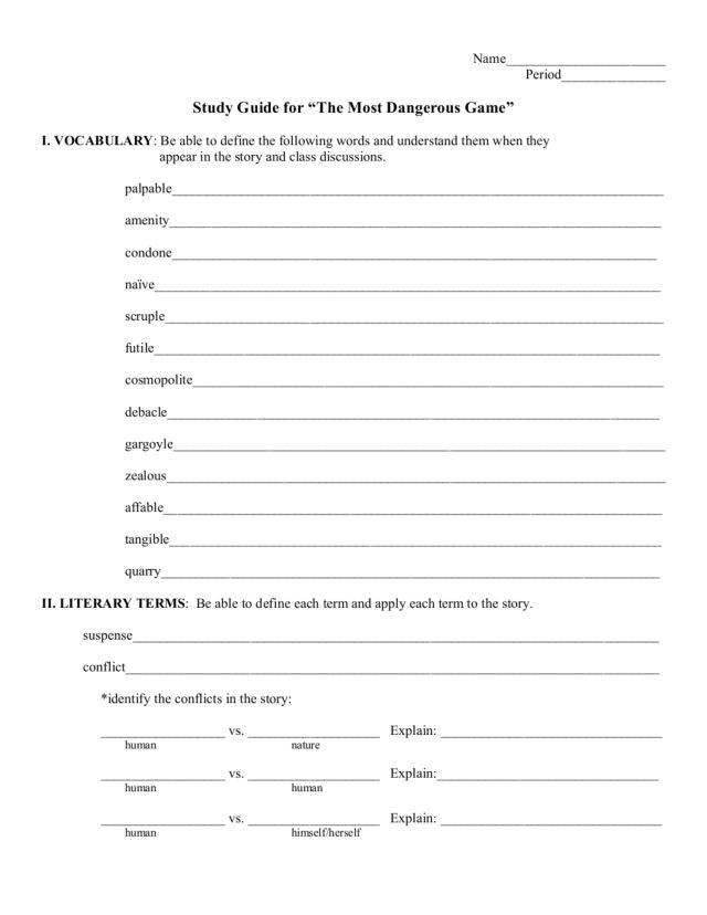 Study Guide: The Most Dangerous Game Worksheet