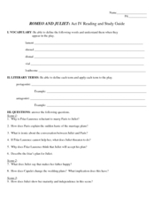 Reading and Study Guide: Romeo and Juliet Act IV Worksheet
