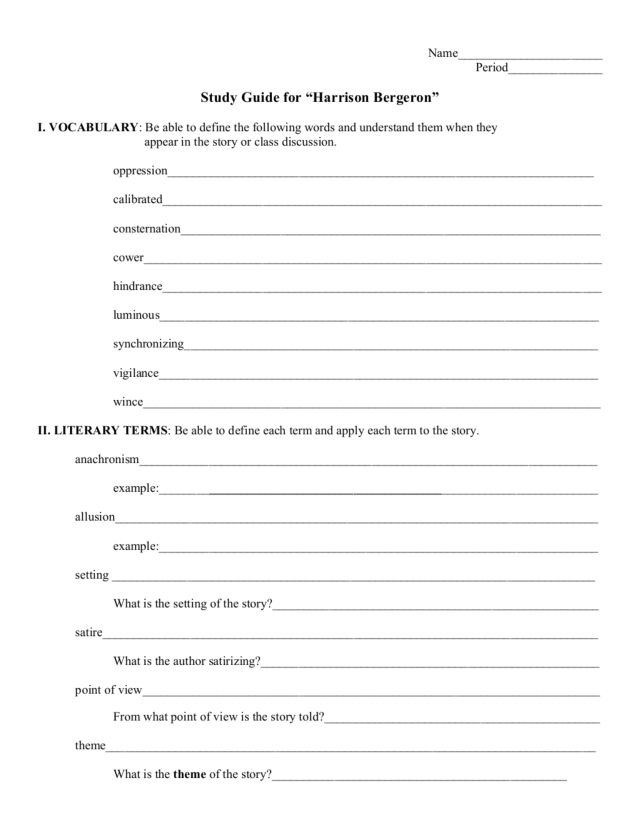 Harrison Bergeron Vocabulary Worksheet - The Best and Most ...