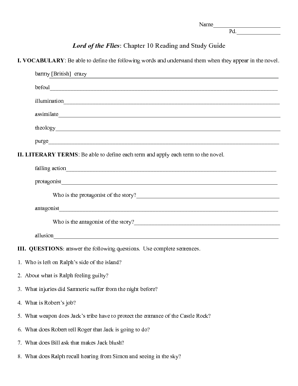 Reading and Study Guide Lord of the Flies Chapter 10 7th 11th – Lord of the Flies Worksheets