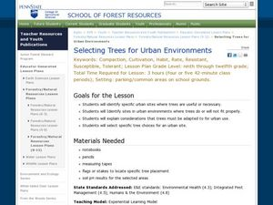 Selecting Trees for Urban Environments Lesson Plan