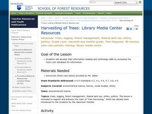 Harvesting of Trees: Library Media Center Resources Lesson Plan