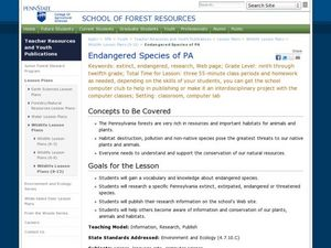 Endangered Species of PA Lesson Plan