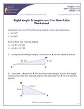Right Angle Triangles and the Sine Ratio Worksheet