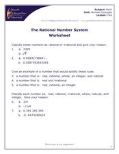 The Rational Number System Worksheet