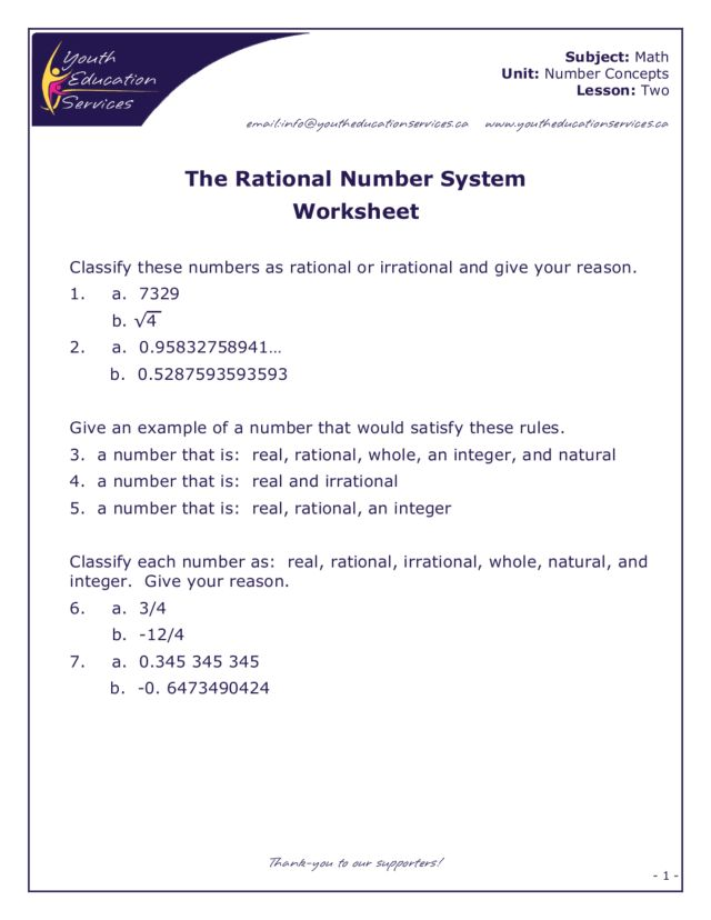 The Rational Number System 7th 8th Grade Worksheet – Irrational and Rational Numbers Worksheet