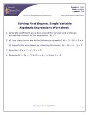 Solving First Degree, Single Variable Algebraic Expressions Worksheet