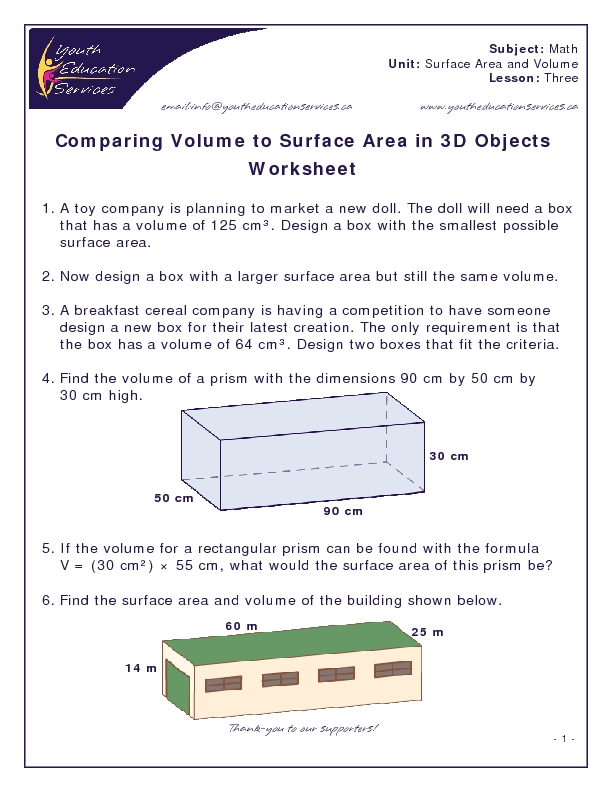 Comparing Volume To Surface Area In 3d Objects Worksheet
