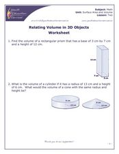Relating Volume in 3D Objects with Ten Problems Worksheet