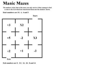 Math Maze with Math Operations Worksheet