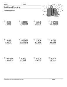 Decimal Addition Worksheet