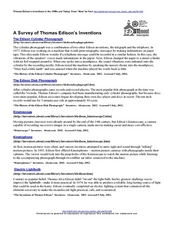 A Survey of Thomas Edison's Inventions Lesson Plan