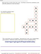 Criss Cross Words Worksheet