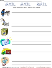 Sentence Writing: Mail! Worksheet