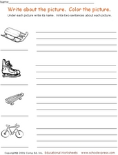 Writing Activity: Write About Pictures Worksheet