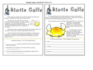 Biotic Cells Worksheet