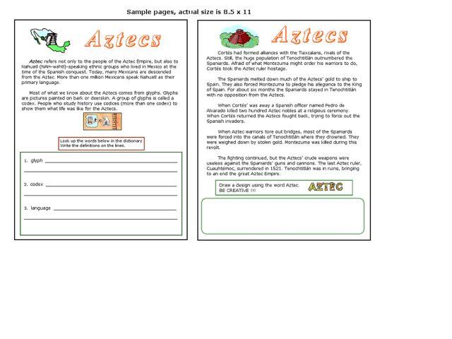 Aztecs Worksheet For 4th 6th Grade Lesson Planet