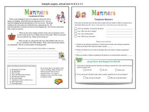 Manners and Table Manners Worksheet