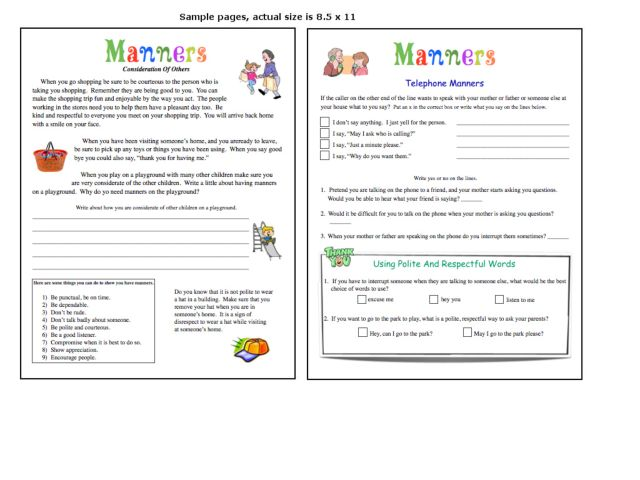 Manners And Table Manners Worksheet For Kindergarten 2nd Grade