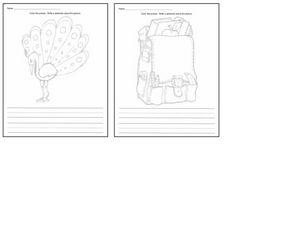 Coloring Sheets: Peacock and Backpack Worksheet