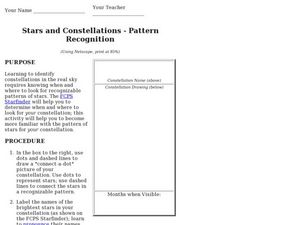 Stars and Constellations-Pattern Recognition Worksheet