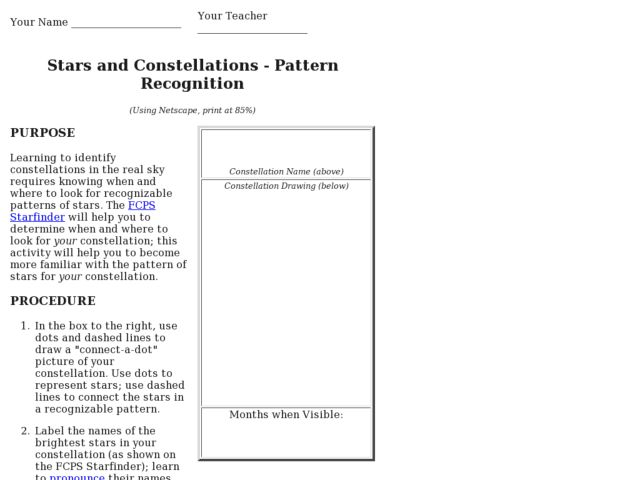 Stars and ConstellationsPattern Recognition 5th 7th Grade – Constellations Worksheets