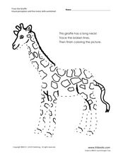 Giraffe: Visual Perception and Fine Motor Skills Worksheet