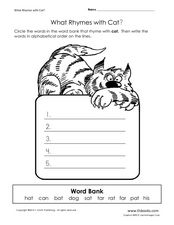 What Rhymes with Cat? Worksheet